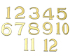 Clock Numerals: 25mm Arabic - Gold-Plated Aluminium