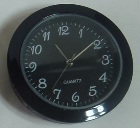 Economy Clock Insert: Black 30mm Diameter Black Face