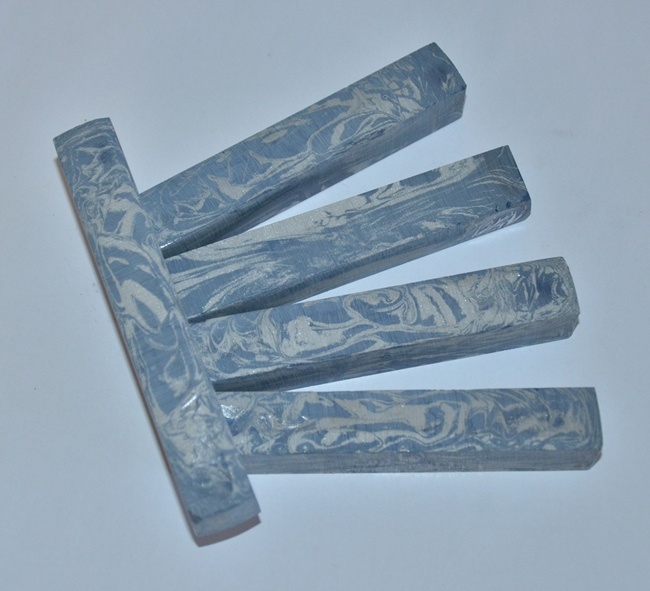 M3 Metal Pen Blank: Blue & White Mokume