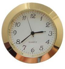 Economy Clock Insert: Gold 30mm Diameter White Face