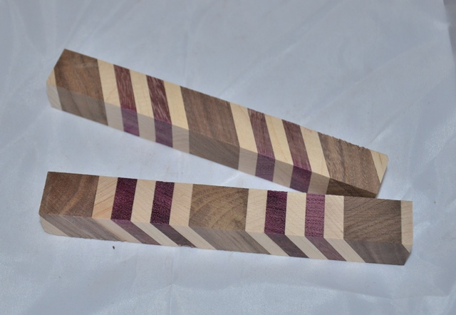 Premium Wood Pen Blank: Laminated Black Walnut, Maple, Purple Heart