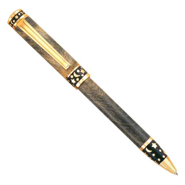 Premium Sculpted Midnight Twist Pen Kit: 24kt Gold