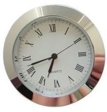 Economy Clock Insert: Chrome 43mm Diameter White Face