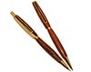 Premium Slimline Twist Pen and Pencil Set: 24K Gold