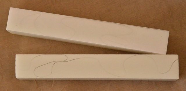 Acrylic Pen Blank: White with Transparent Line
