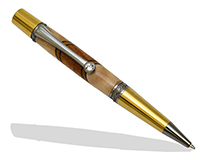 Premium Majestic Squire Twist Pen Kit: Gold Titanium & Black Titanium