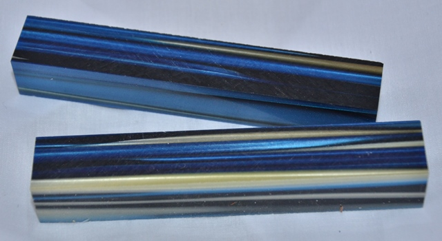 Acrylic Pen Blank: Blue, Black & Light Brown