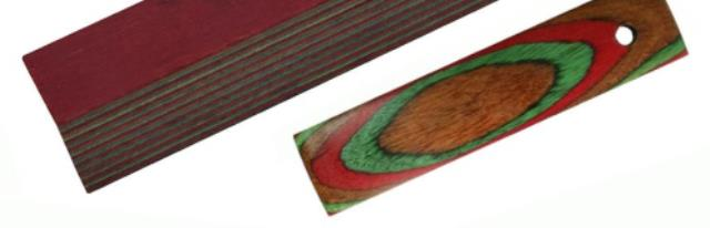 Wood Pen Blank: Red, Coffee & Green